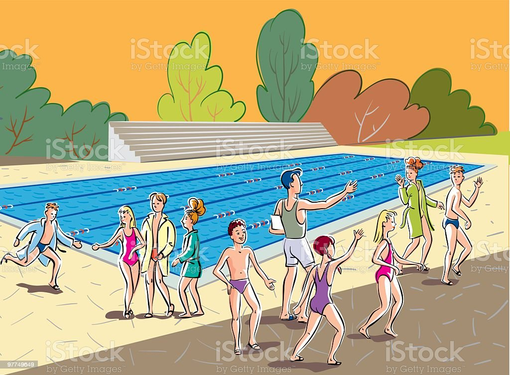 swimming pool and children royalty-free stock vector art