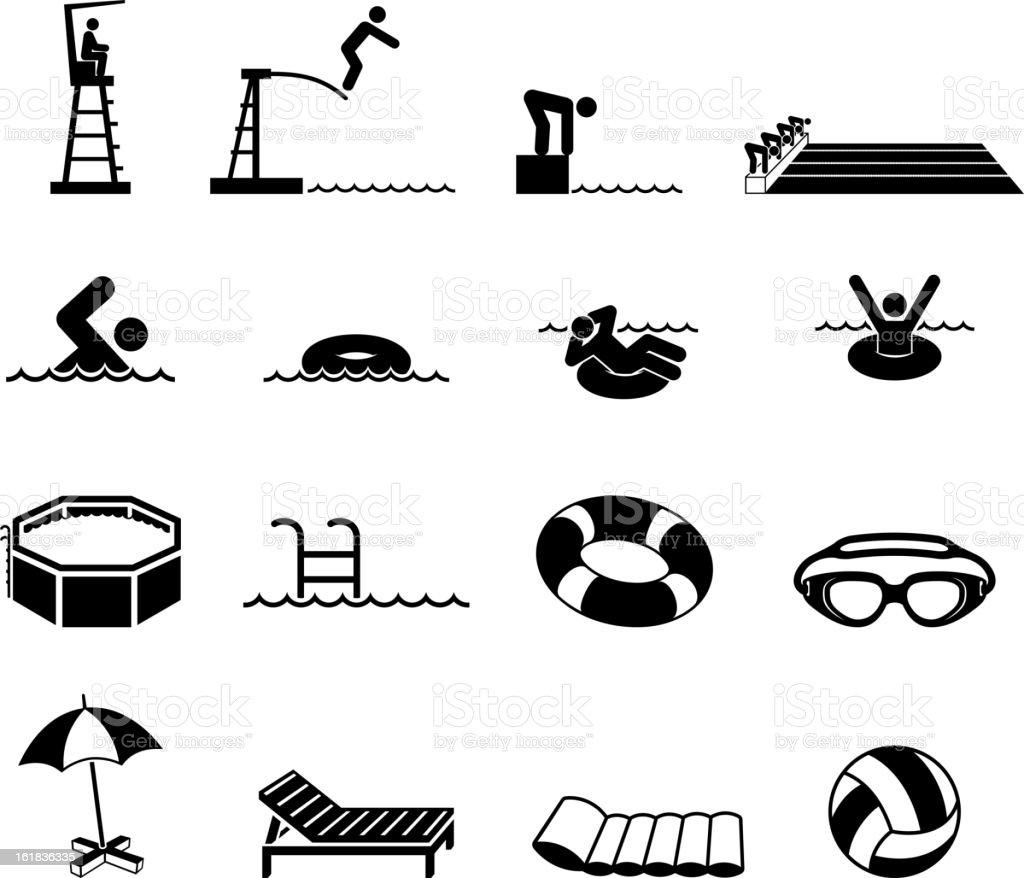 Swimming Pool Black and white Set vector art illustration