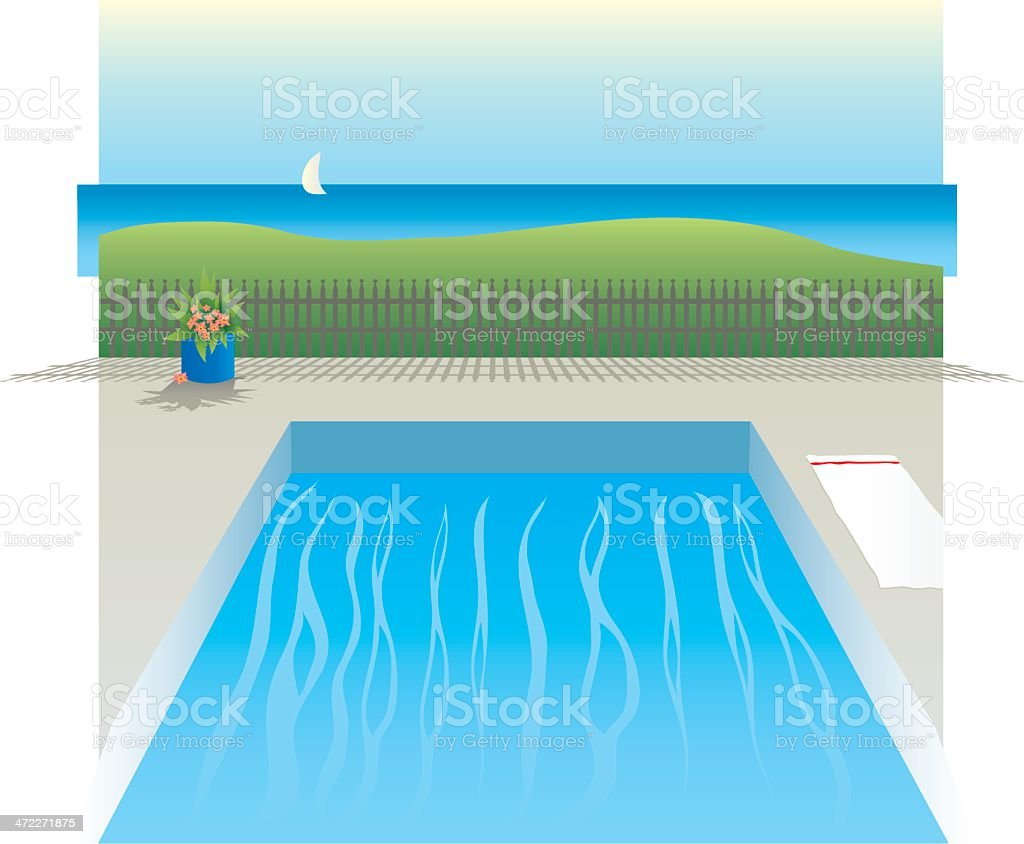 Swimming Pool by the Ocean royalty-free stock vector art