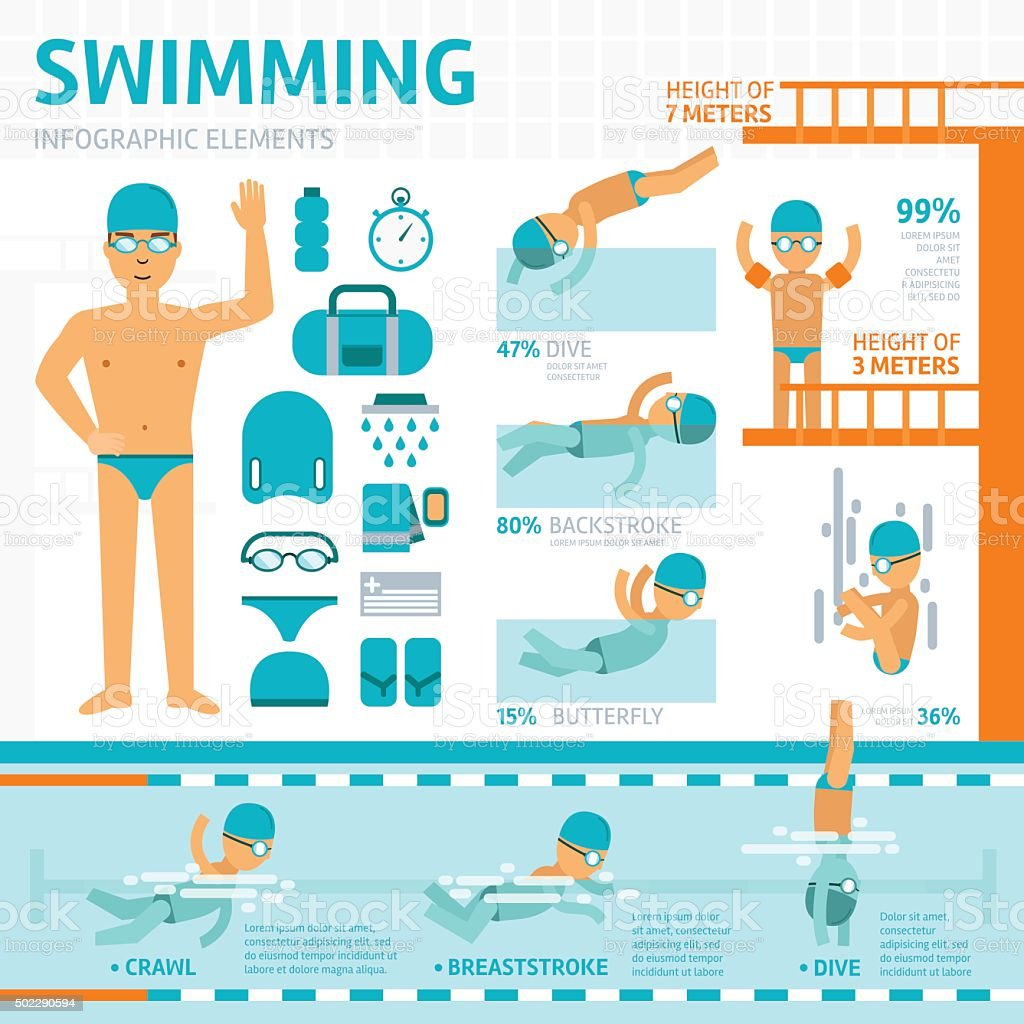 Swimming pool flat infographic elements vector art illustration