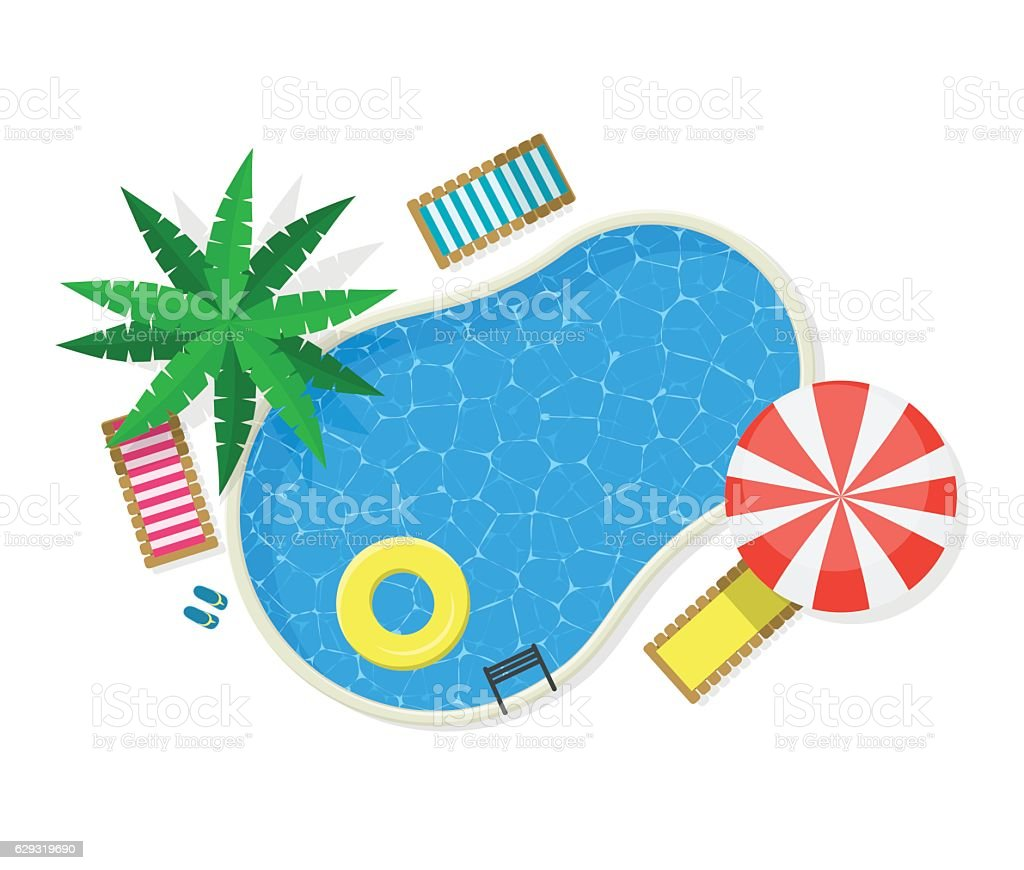 Swimming Pool for Card or Poster. Vector vector art illustration