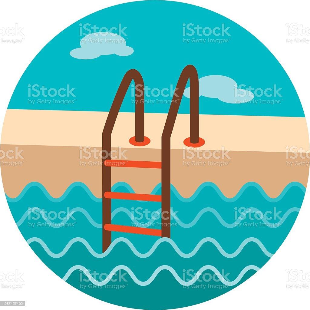 Swimming pool icon. Summer. Vacation vector art illustration