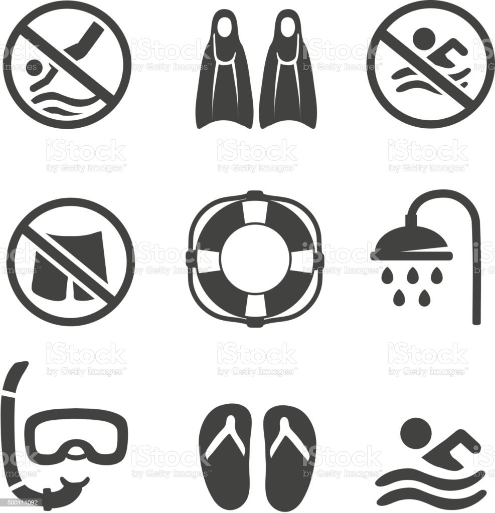 Swimming pool icons, diving, mask,  flippers and shower. sport vector vector art illustration