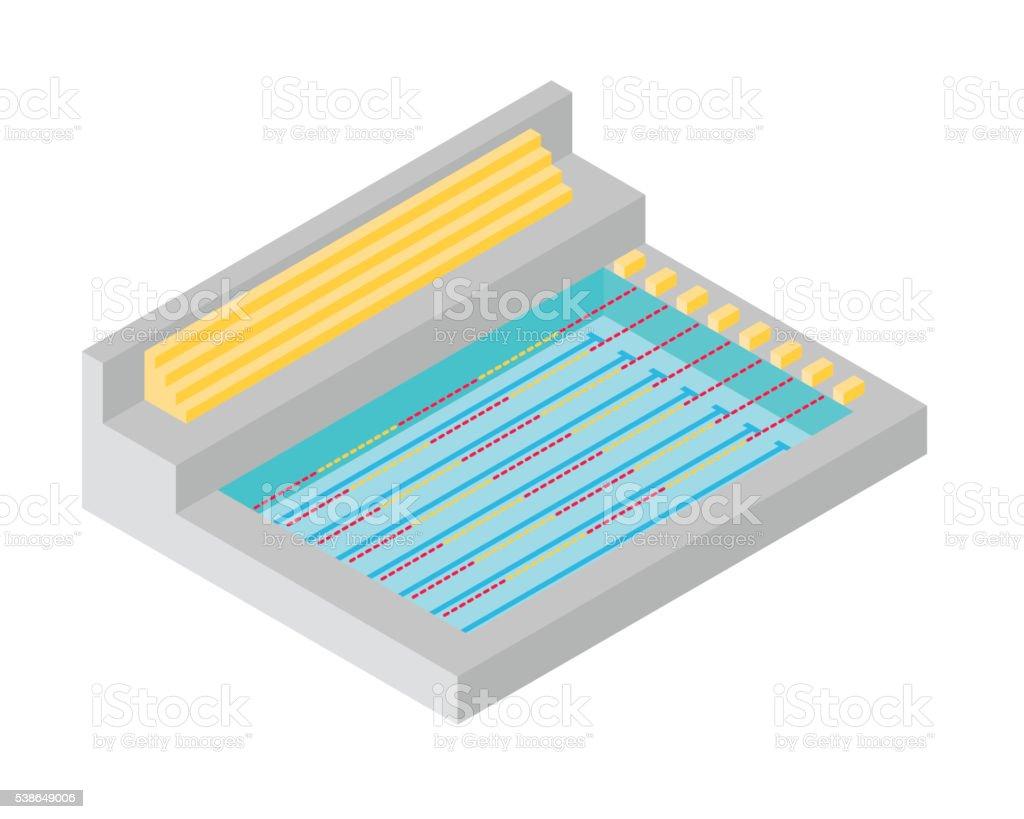 Swimming pool isomatic flat design vector art illustration