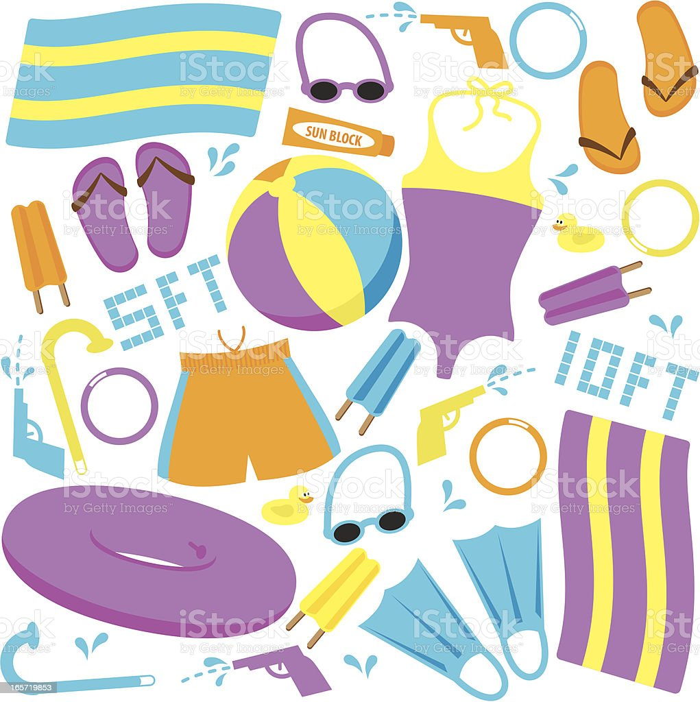 Swimming Pool Items vector art illustration