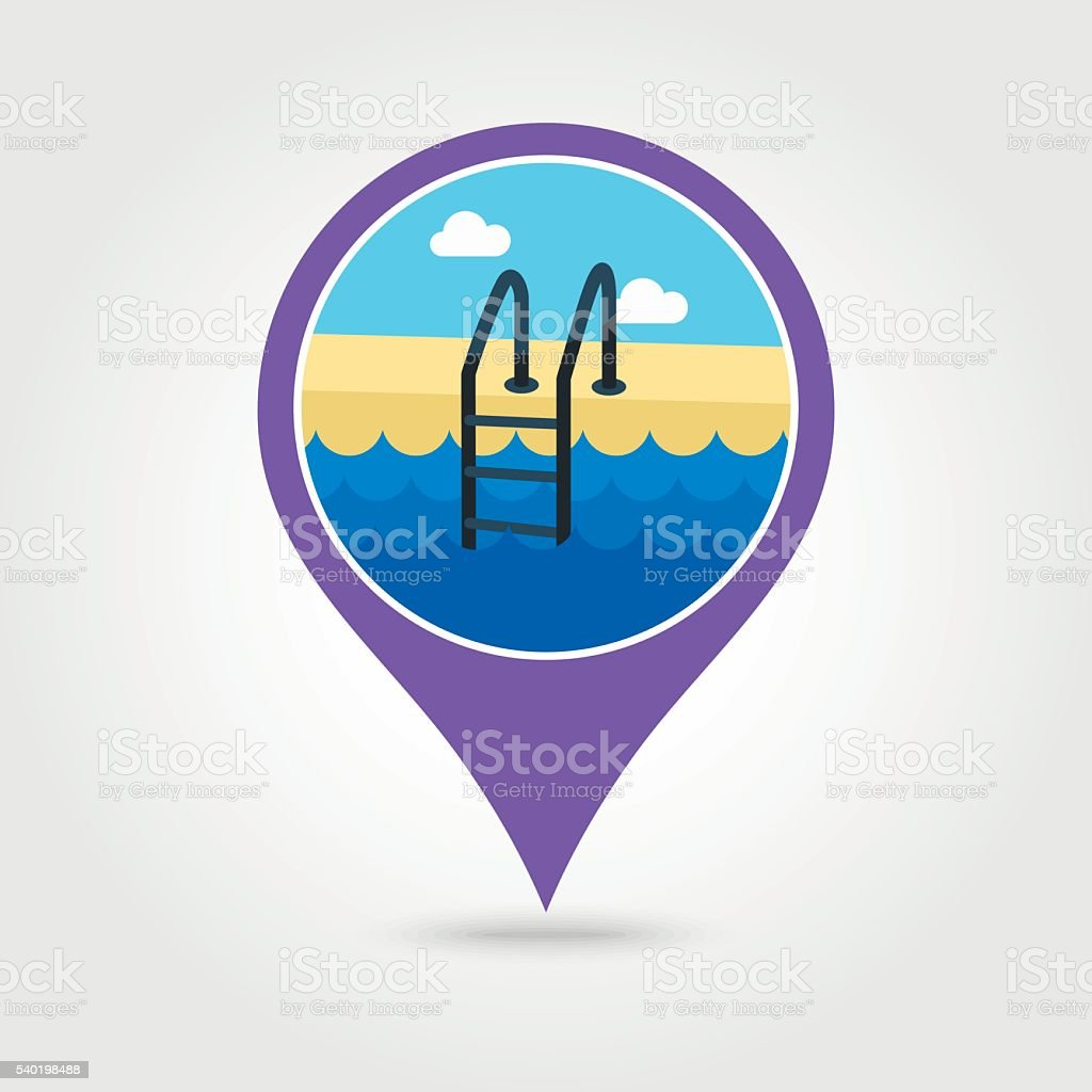 Swimming pool pin map icon. Summer. Vacation vector art illustration