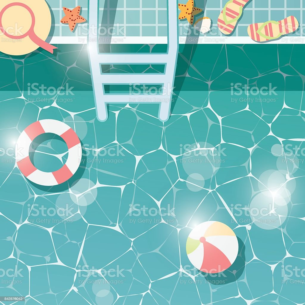 Swimming pool side, top view, summer time holiday vacation vector art illustration