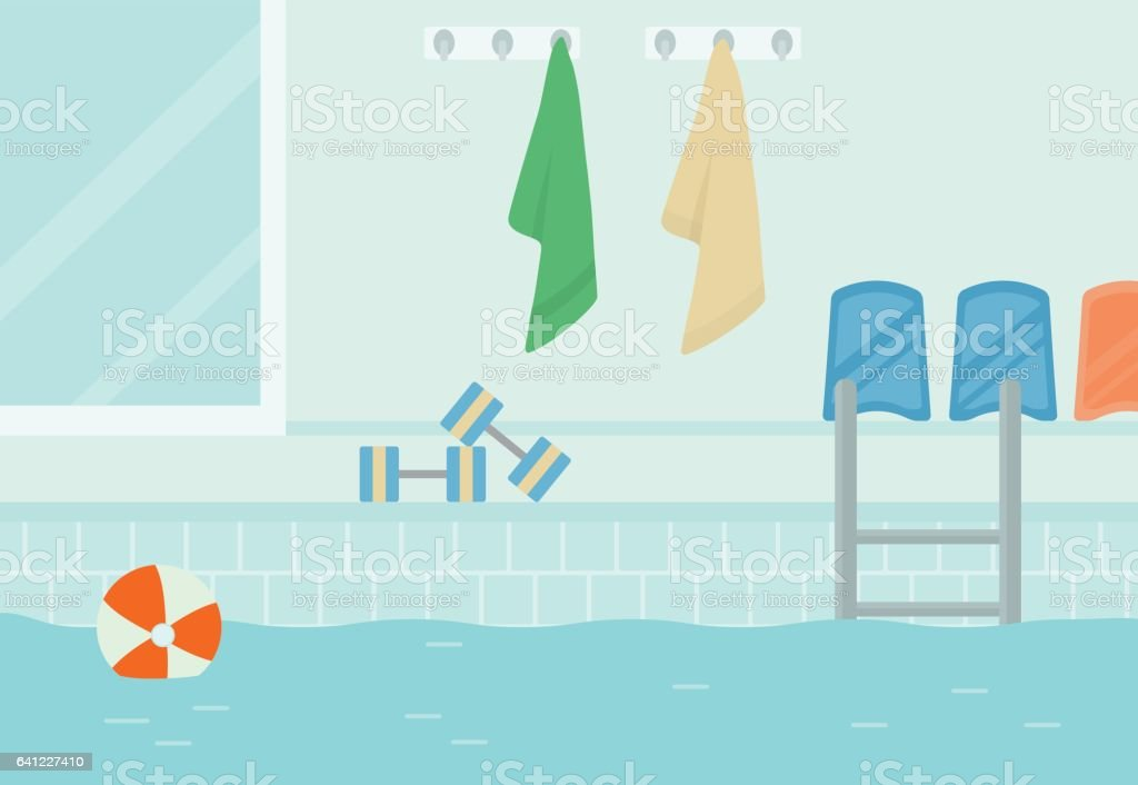 A swimming pool, side view. vector art illustration