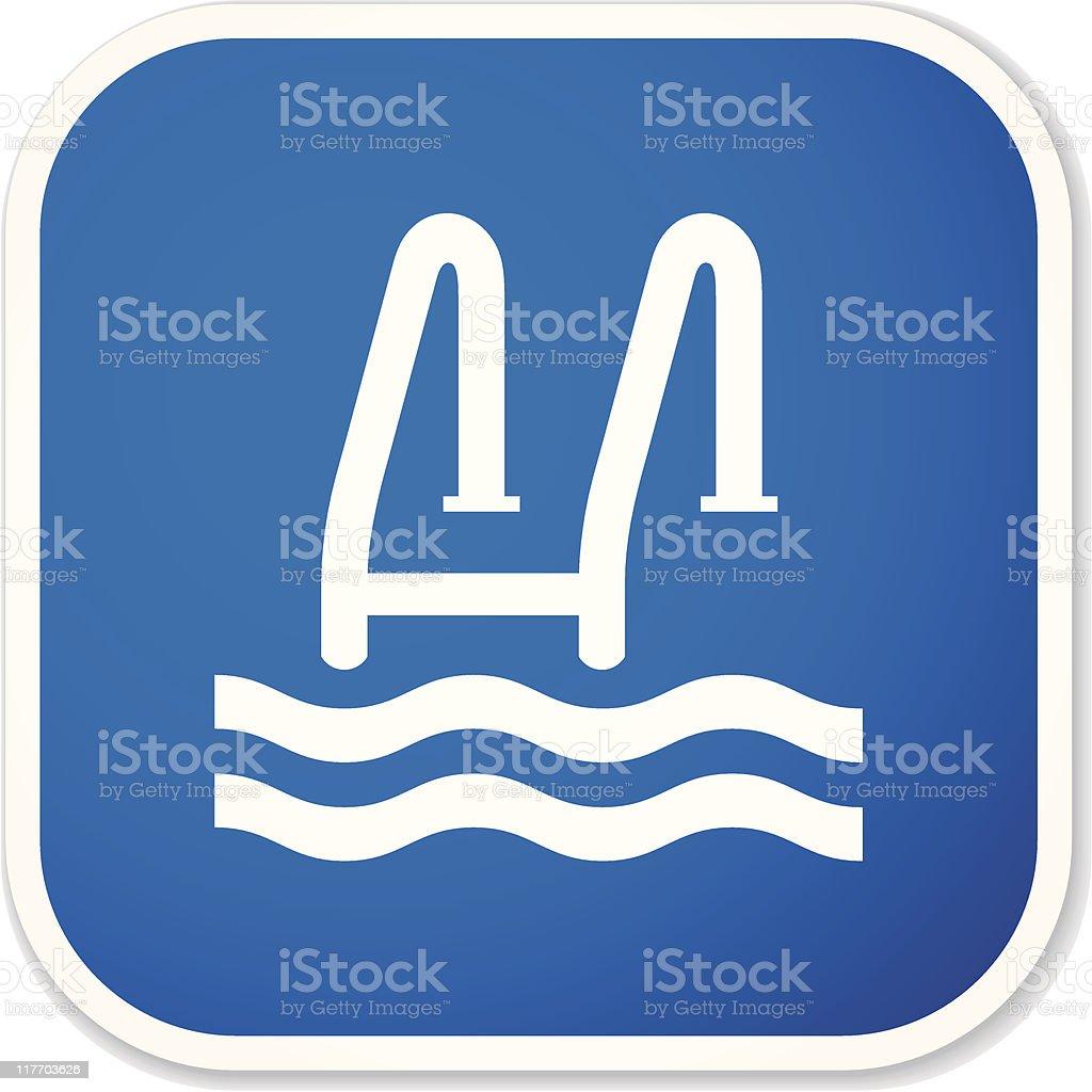 swimming pool sq sticker vector art illustration