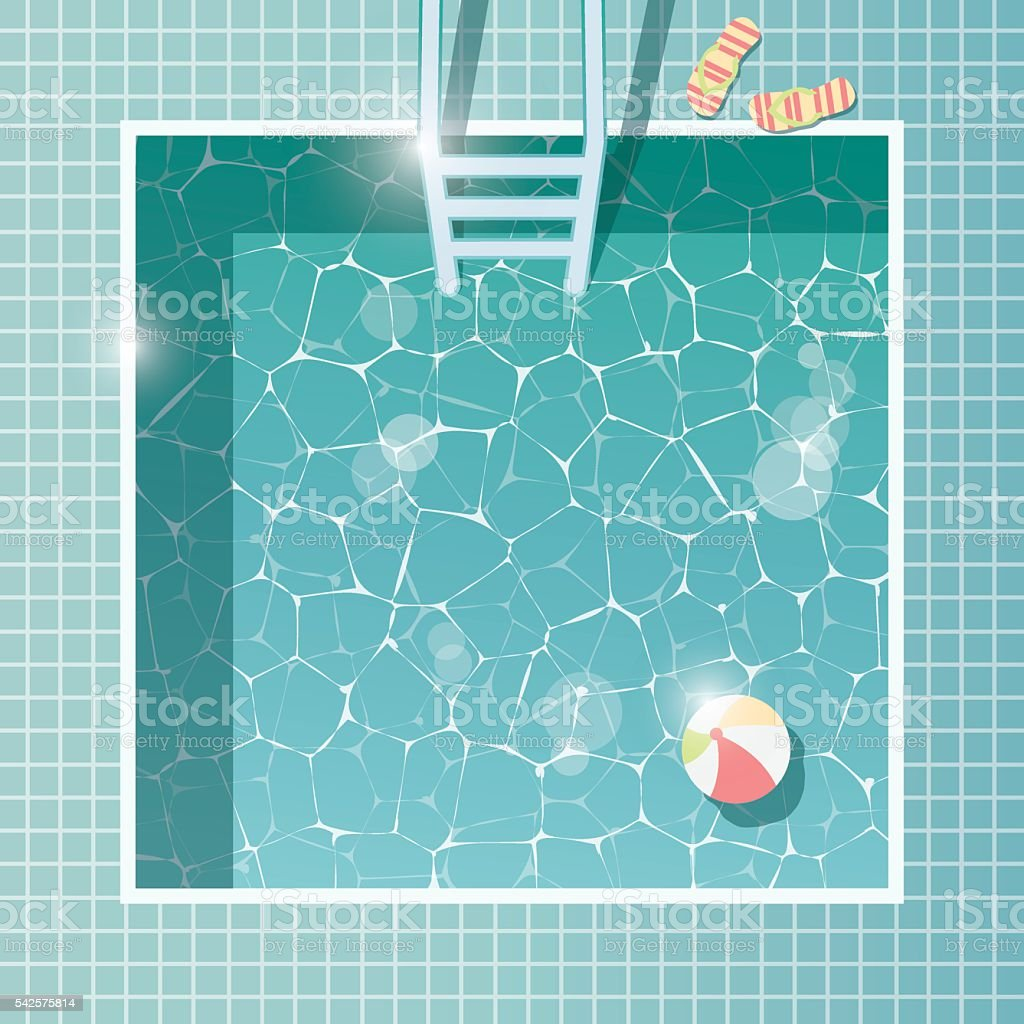 Swimming pool, top view, summer holiday vacation, clear water vector art illustration
