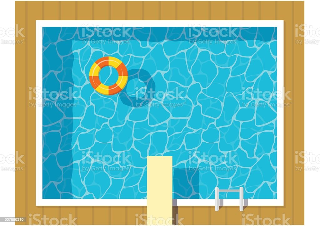Swimming pool top view with inflatable ring and springboard jump. vector art illustration