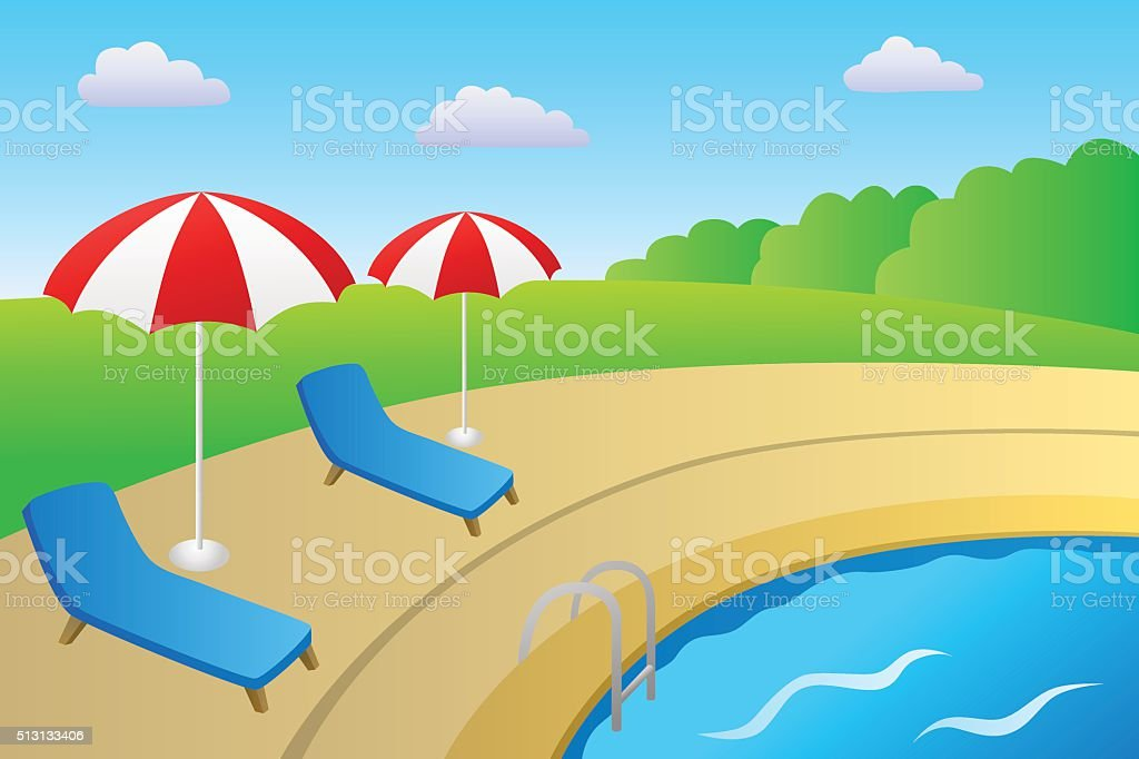 Swimming pool vacation deck chair umbrella landscape summer day vector vector art illustration