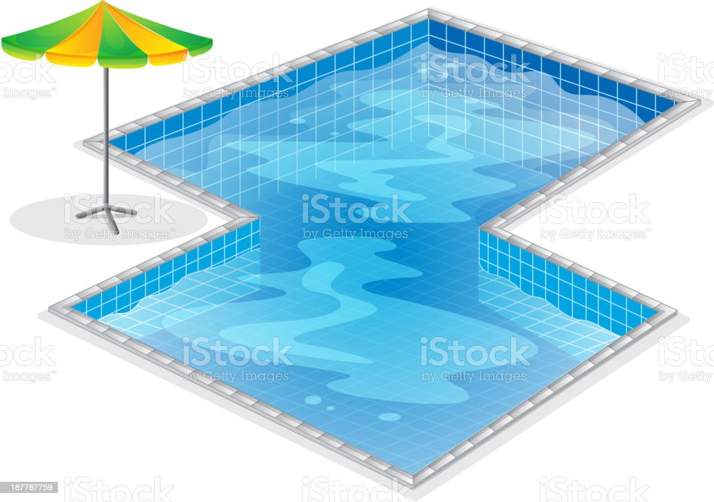 Swimming pool with a beach umbrella royalty-free stock vector art