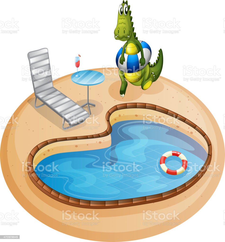 swimming pool with  crocodile inside a buoy royalty-free stock vector art