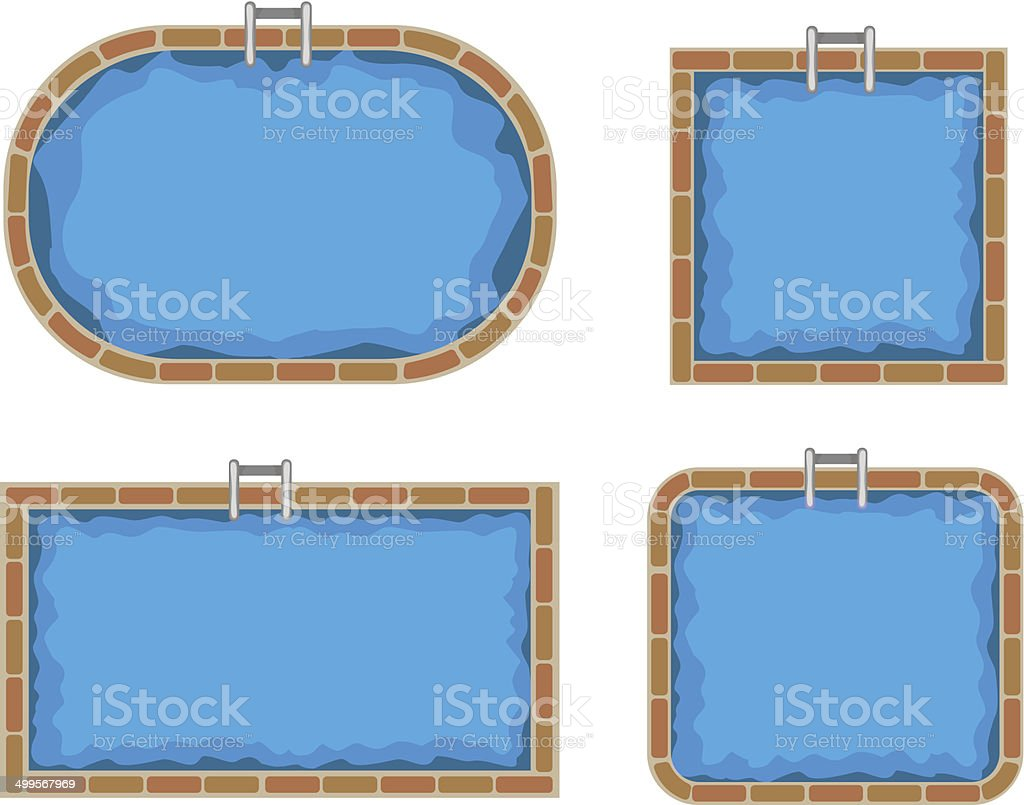 Swimming pools. Top view vector art illustration