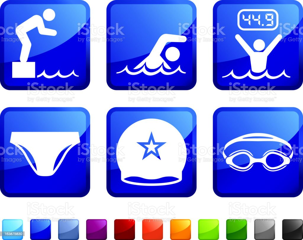 Swimming Race royalty free vector icon set stickers vector art illustration