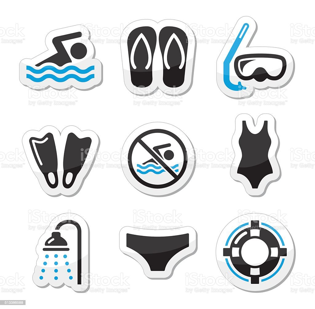 Swimming, scuba diving, sport vector icons set vector art illustration