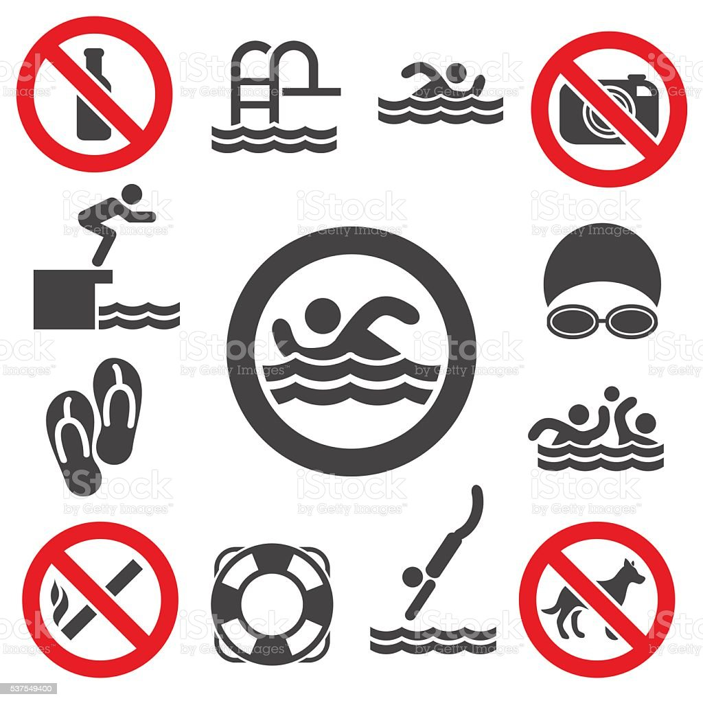 Swimming vector icons vector art illustration