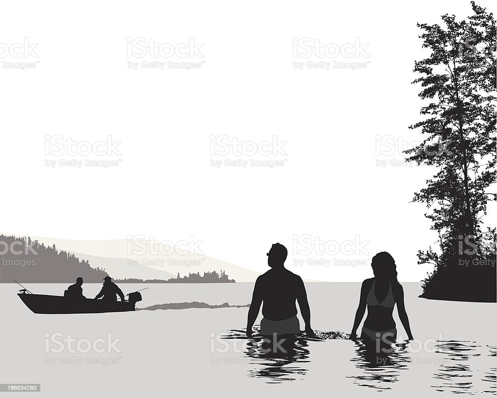 Swimming'n Boating vector art illustration