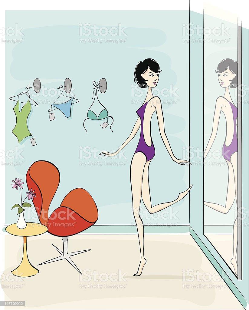Swimsuit Shopping vector art illustration