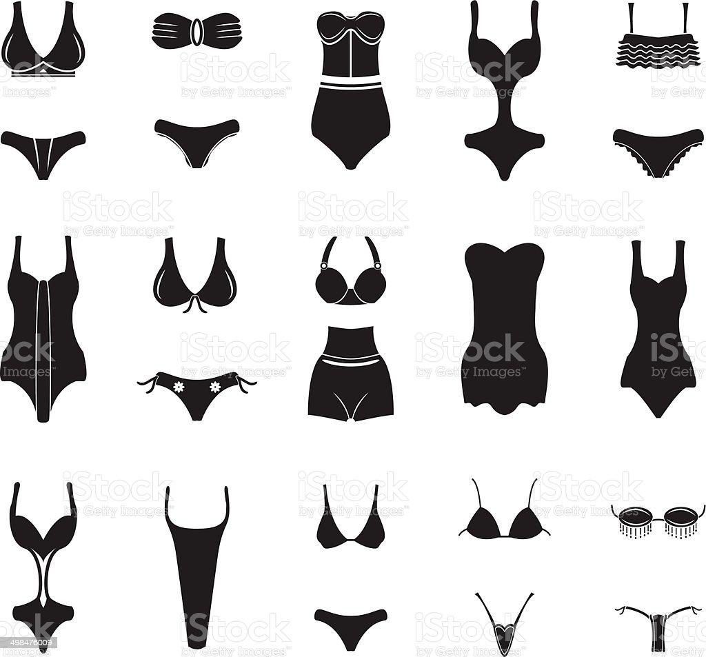 Swimwear and bikini icons vector art illustration