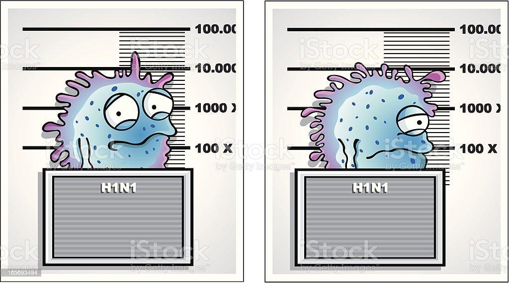 Swine flu / H1N1 mugshot royalty-free stock vector art