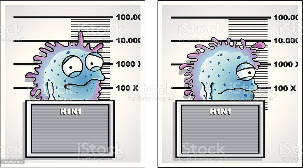Swine flu / H1N1 mugshot vector art illustration
