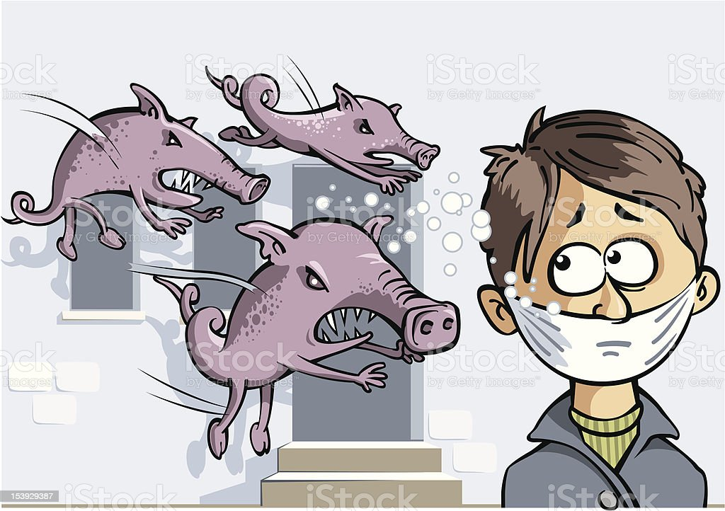 Swine Flu H1N1 vector art illustration