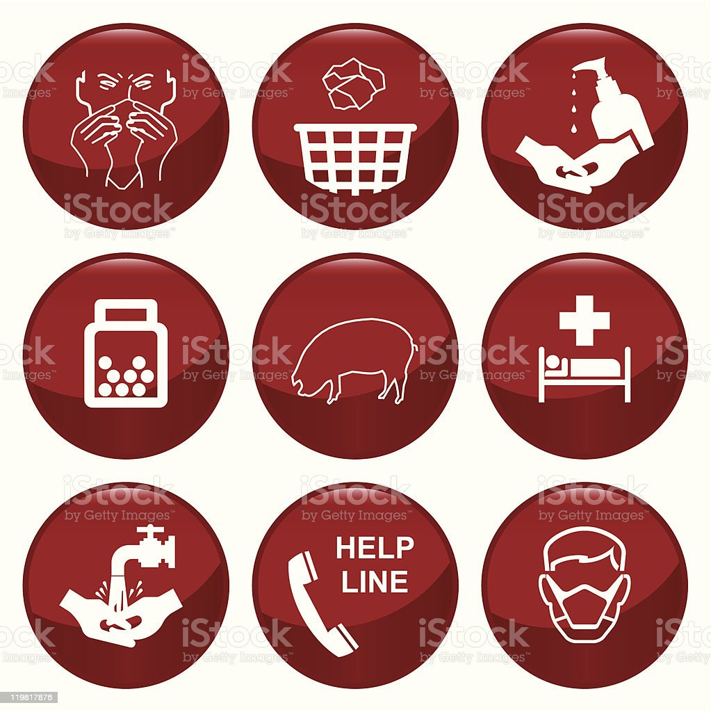 H1N1 swine flu icons vector art illustration