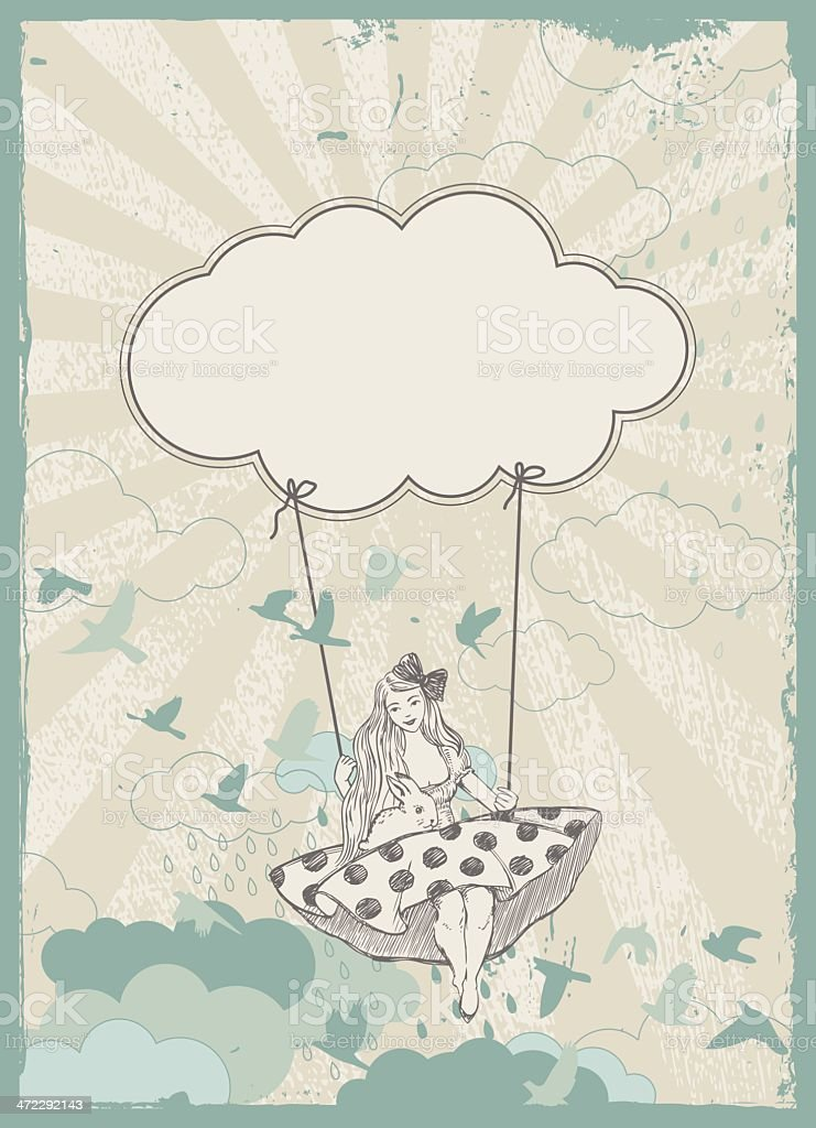 swing in the clouds royalty-free stock vector art