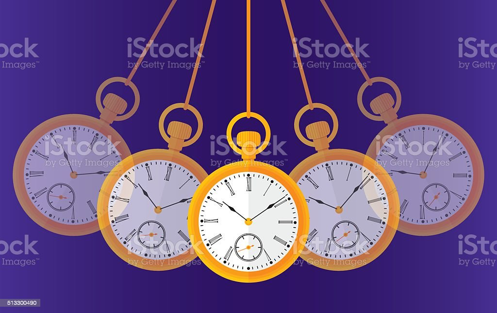 Swinging Pocket Watch vector art illustration