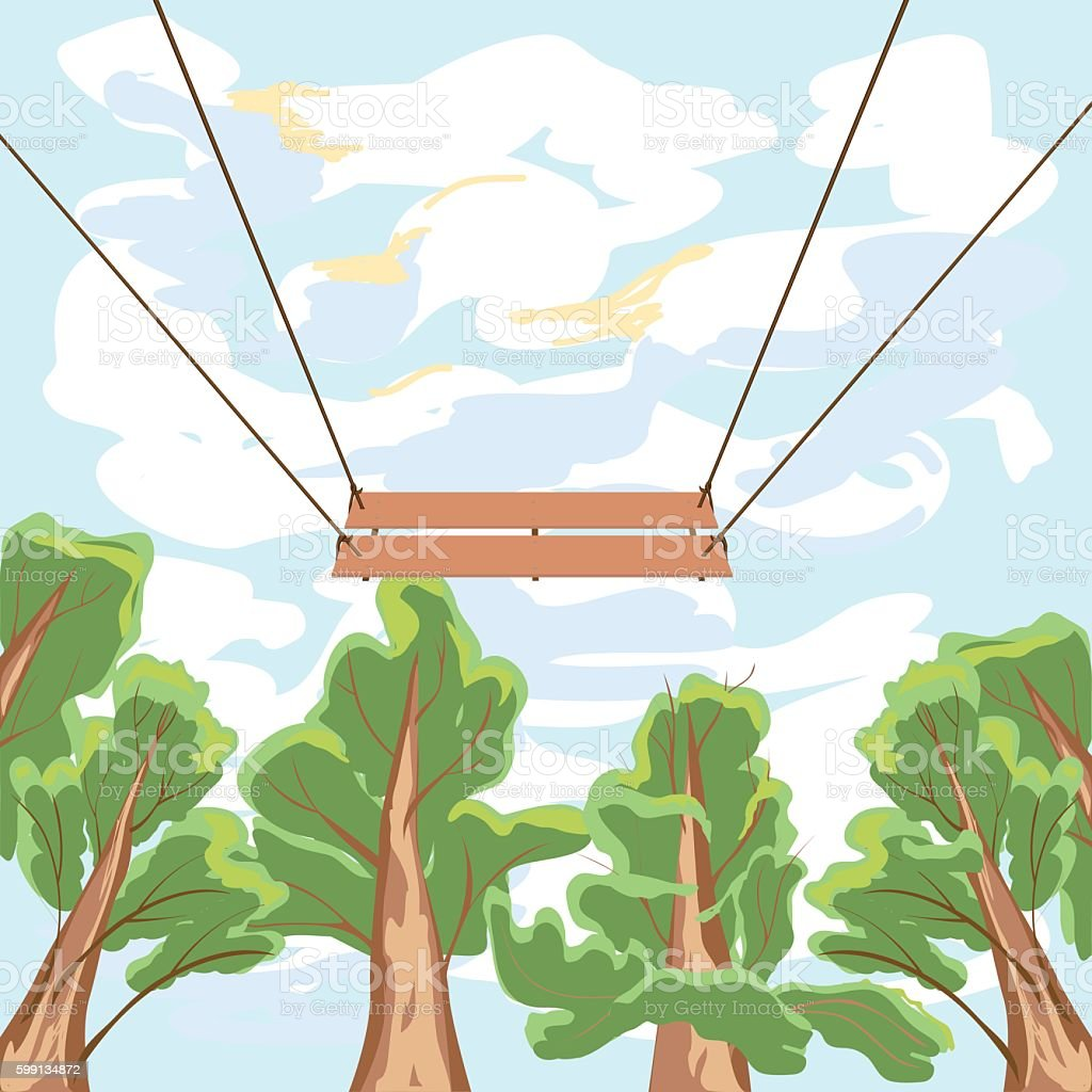 Swinging the swing on the background of trees and sky royalty-free stock vector art