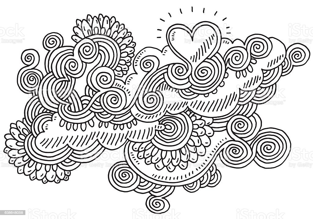 Swirl Abstract Doodle Love Heart Drawing vector art illustration