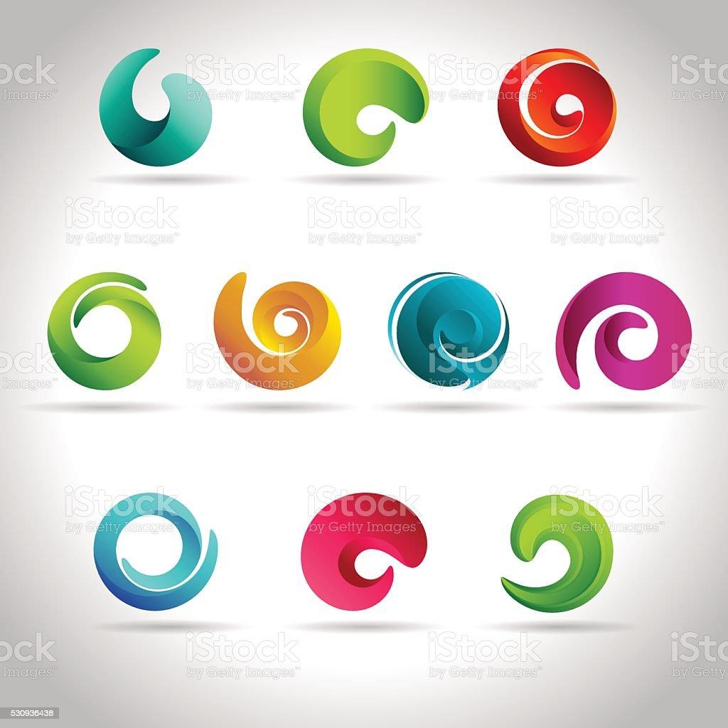 swirl colorful icons vector art illustration