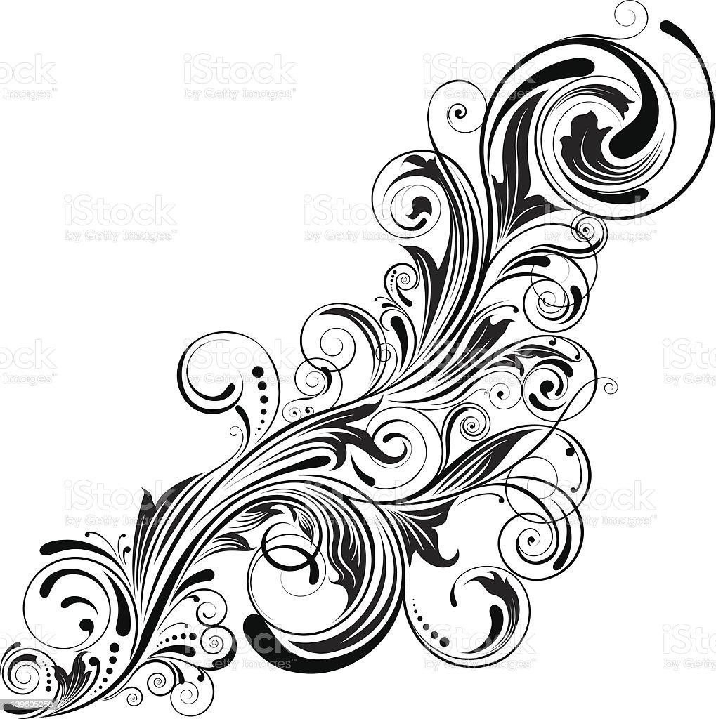 Swirl corner black design royalty-free stock vector art
