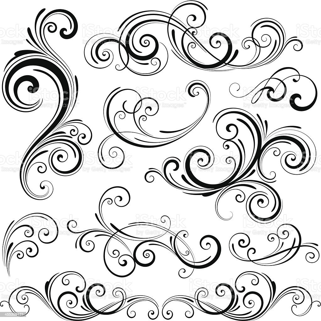 Swirl Elements vector art illustration