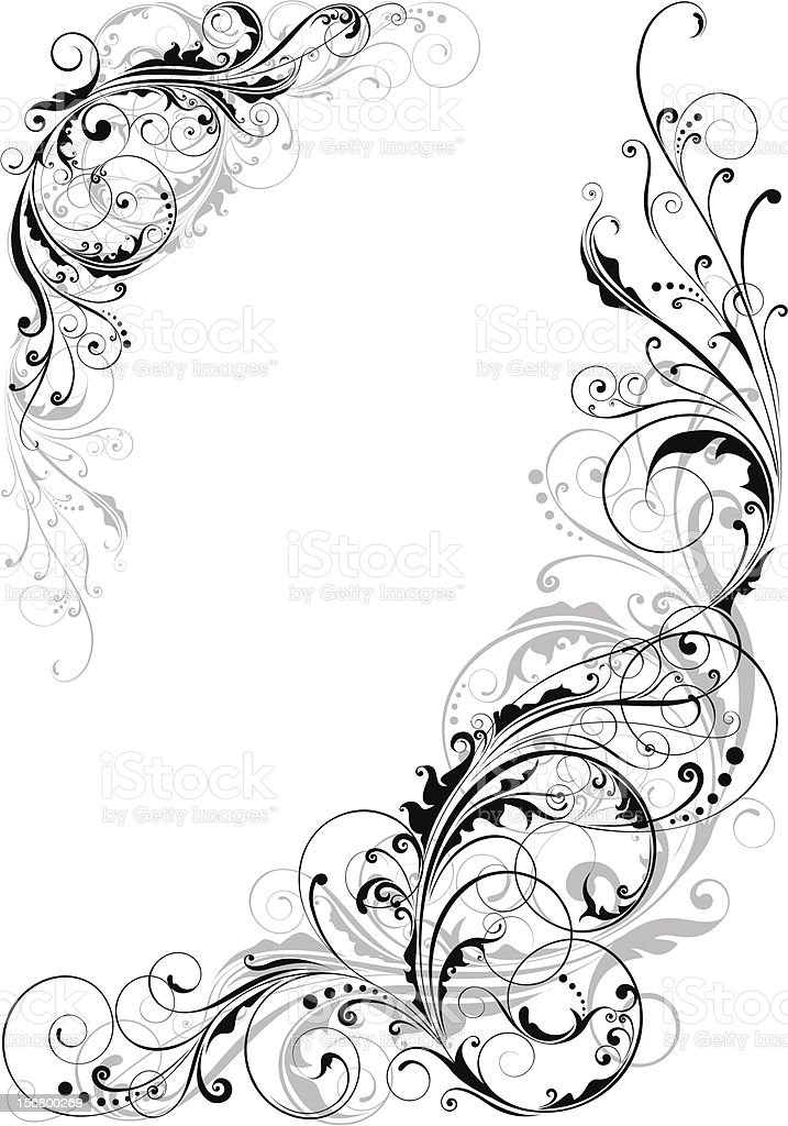 Swirl floral design royalty-free stock vector art