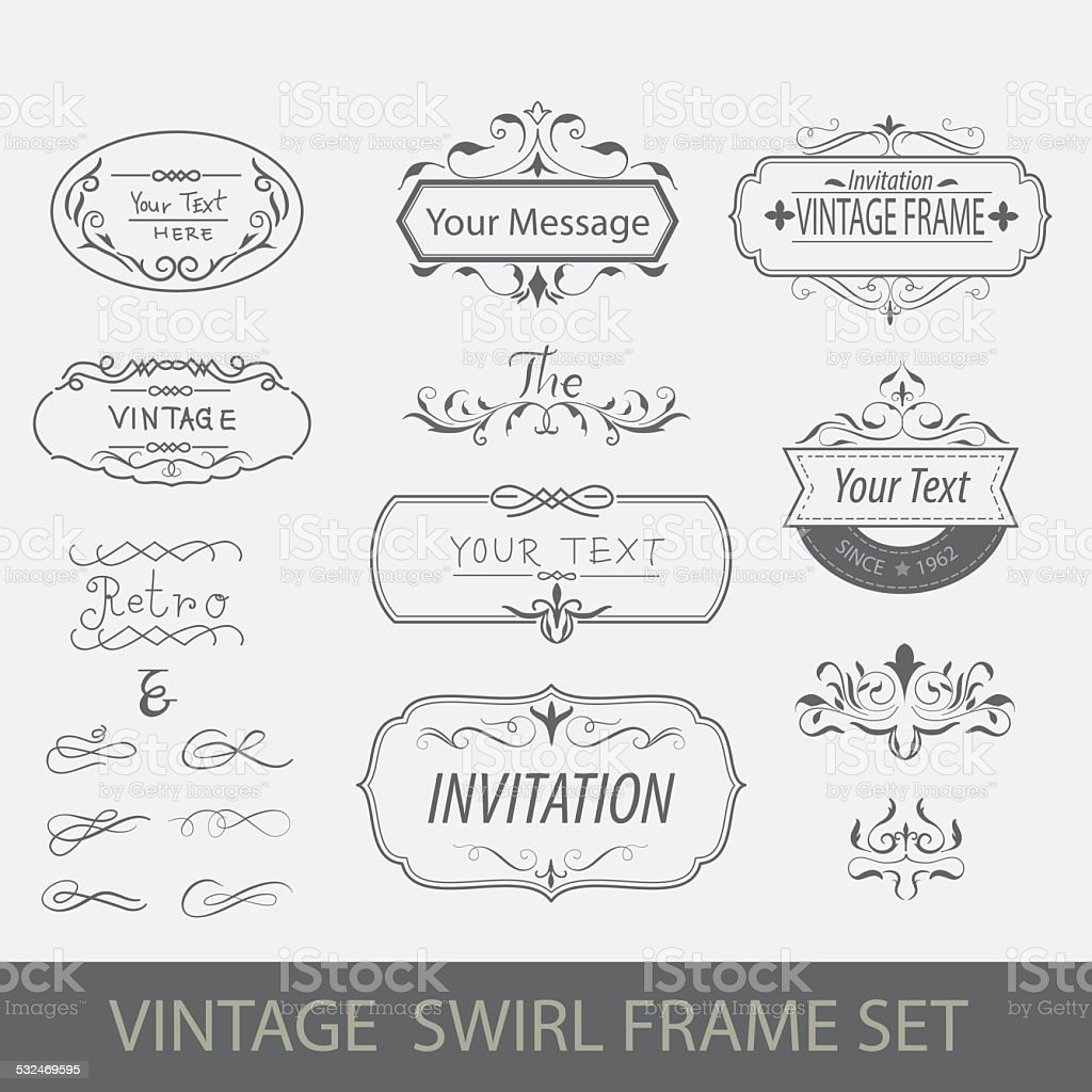 swirl frame set vector art illustration
