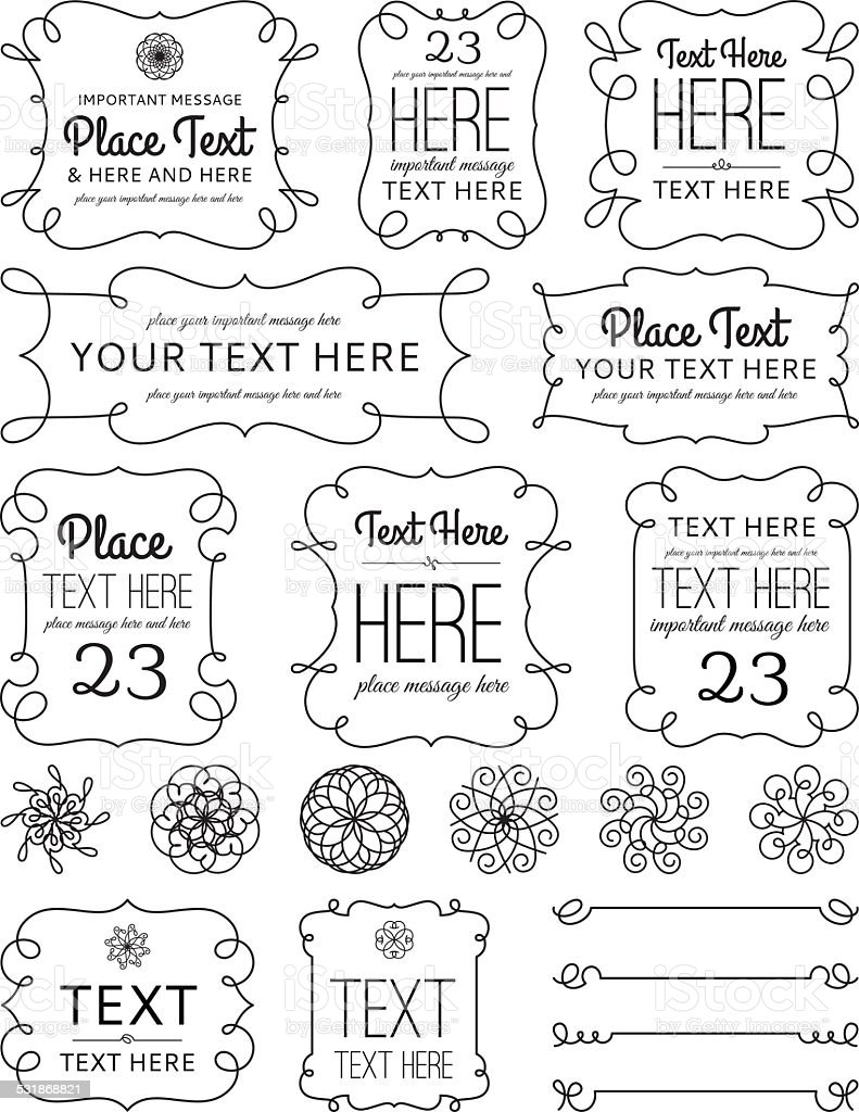 Swirl Frames & Elements vector art illustration