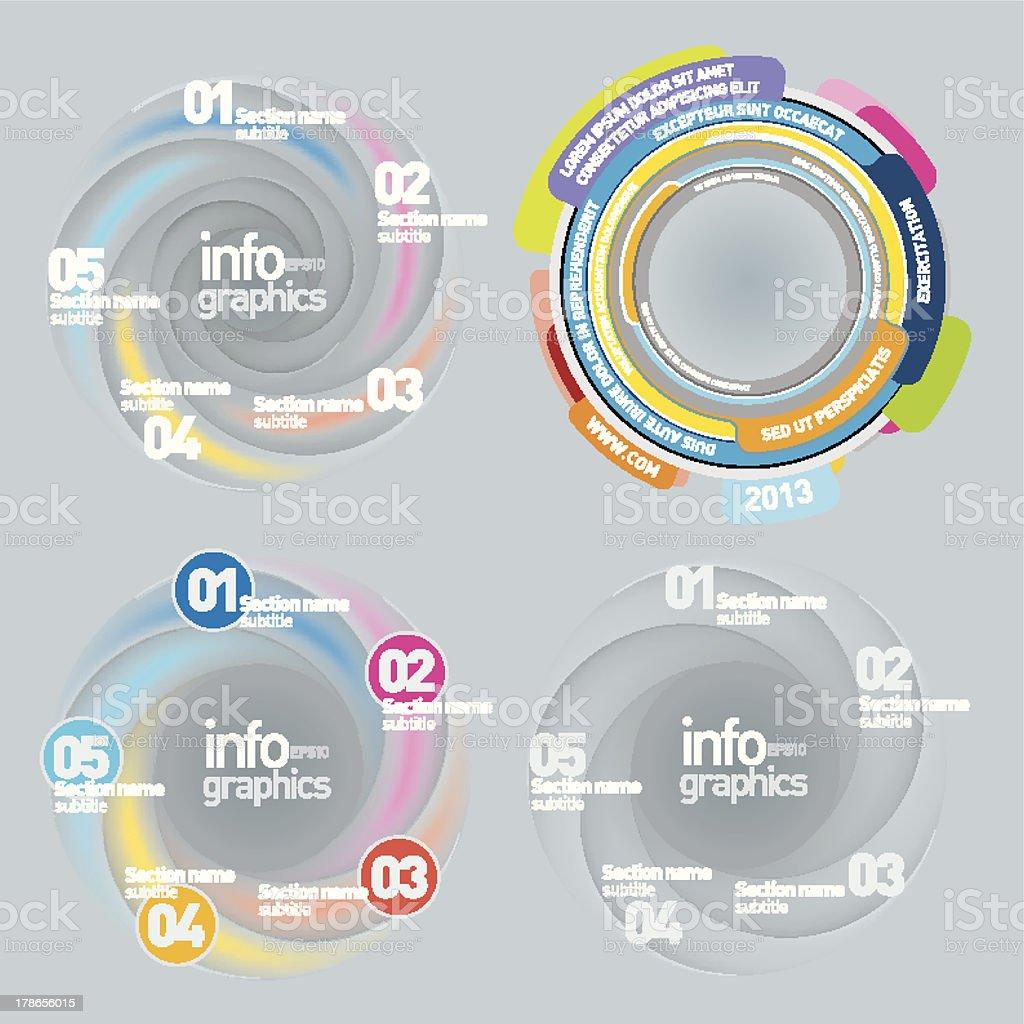 Swirl Infographics Set royalty-free stock vector art