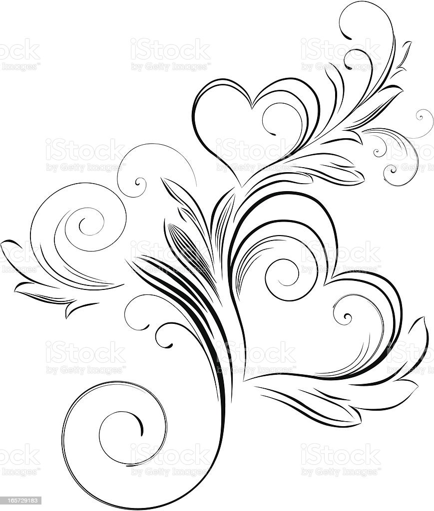 A swirled ornament of a valentine royalty-free stock vector art