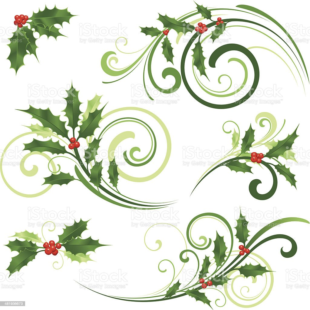 Swirling Christmas motifs vector art illustration