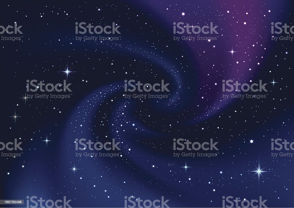 Swirling galaxy and stars in dark blue sky vector art illustration