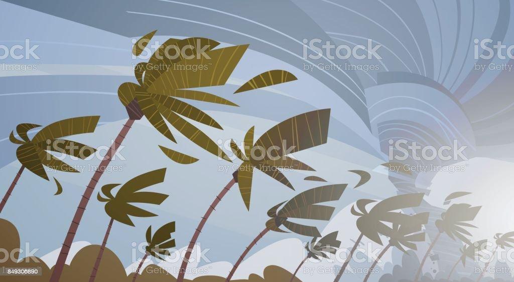 Swirling Tornado In Sky Over Palm Trees Hurricane Huge Wind Storm Tropical Natural Disaster Concept vector art illustration