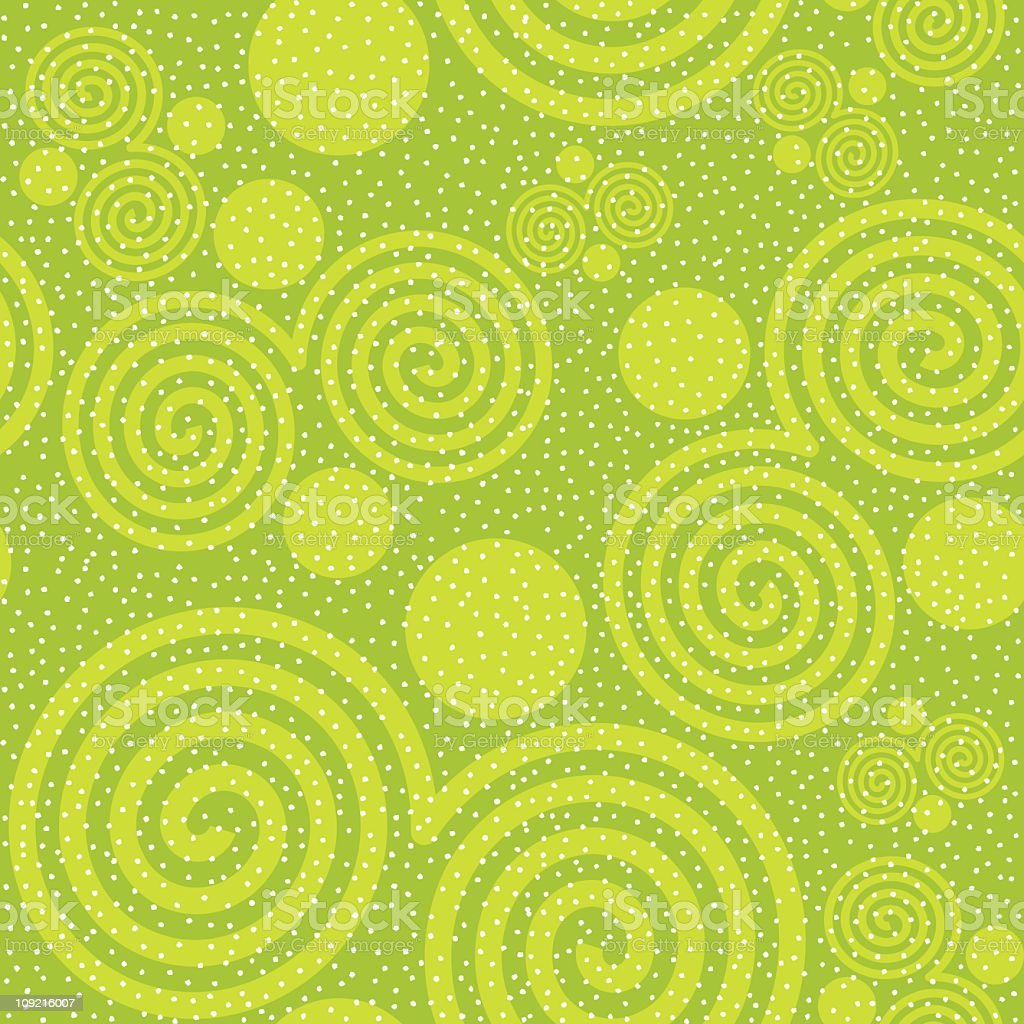 Swirls and dots in lime green seamless background tile royalty-free stock vector art