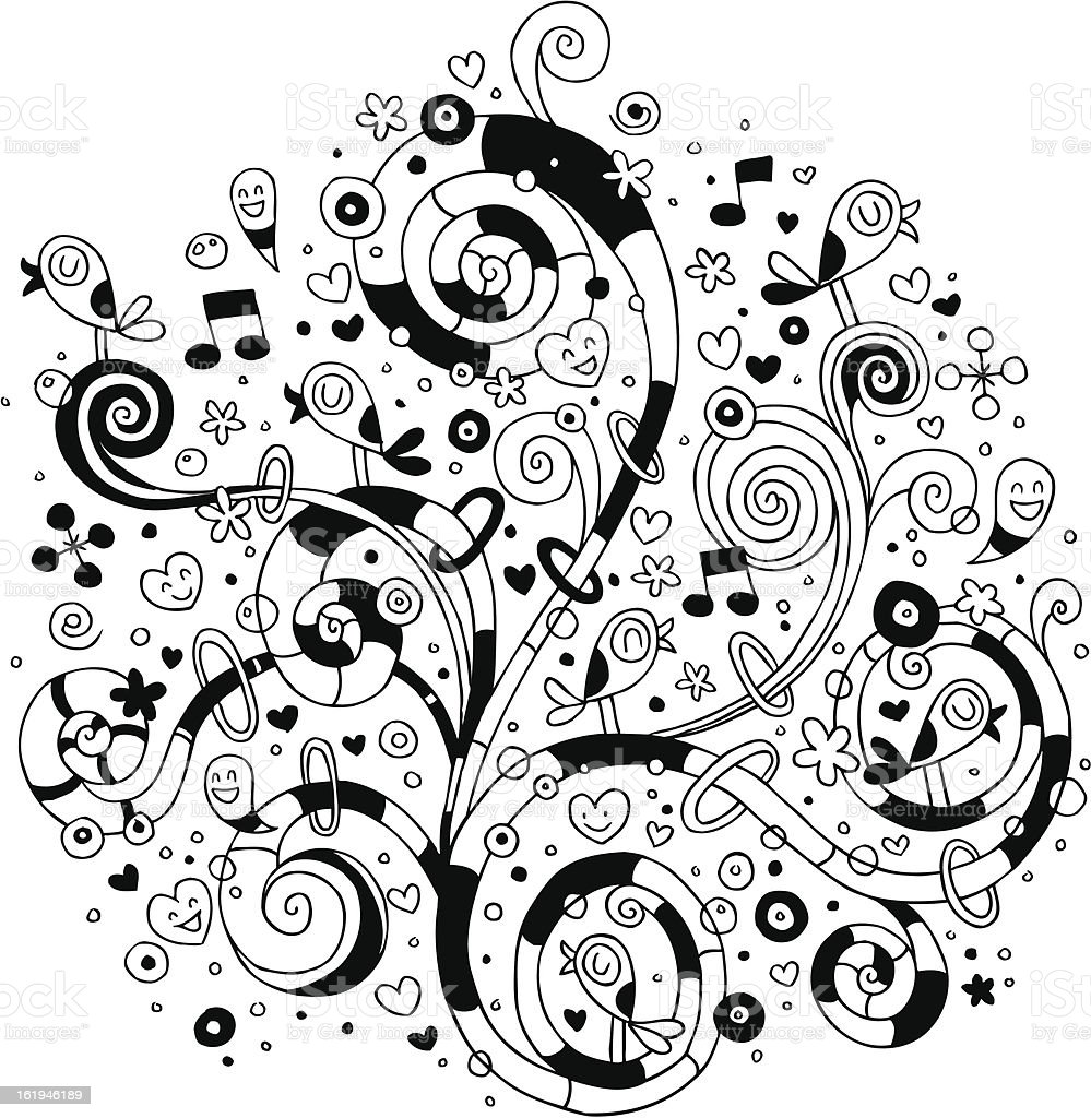 Swirls, flowers, hearts and birds royalty-free stock vector art