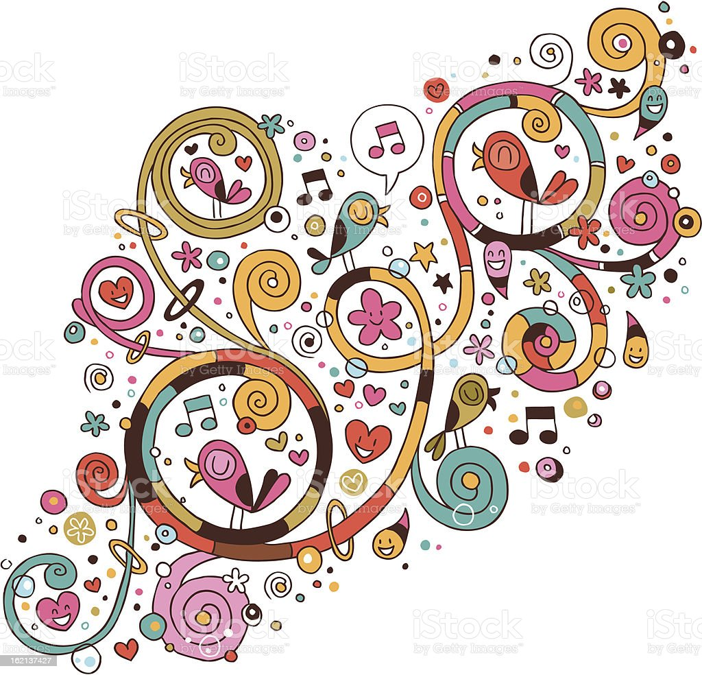 Swirls, flowers, hearts and birds vector art illustration