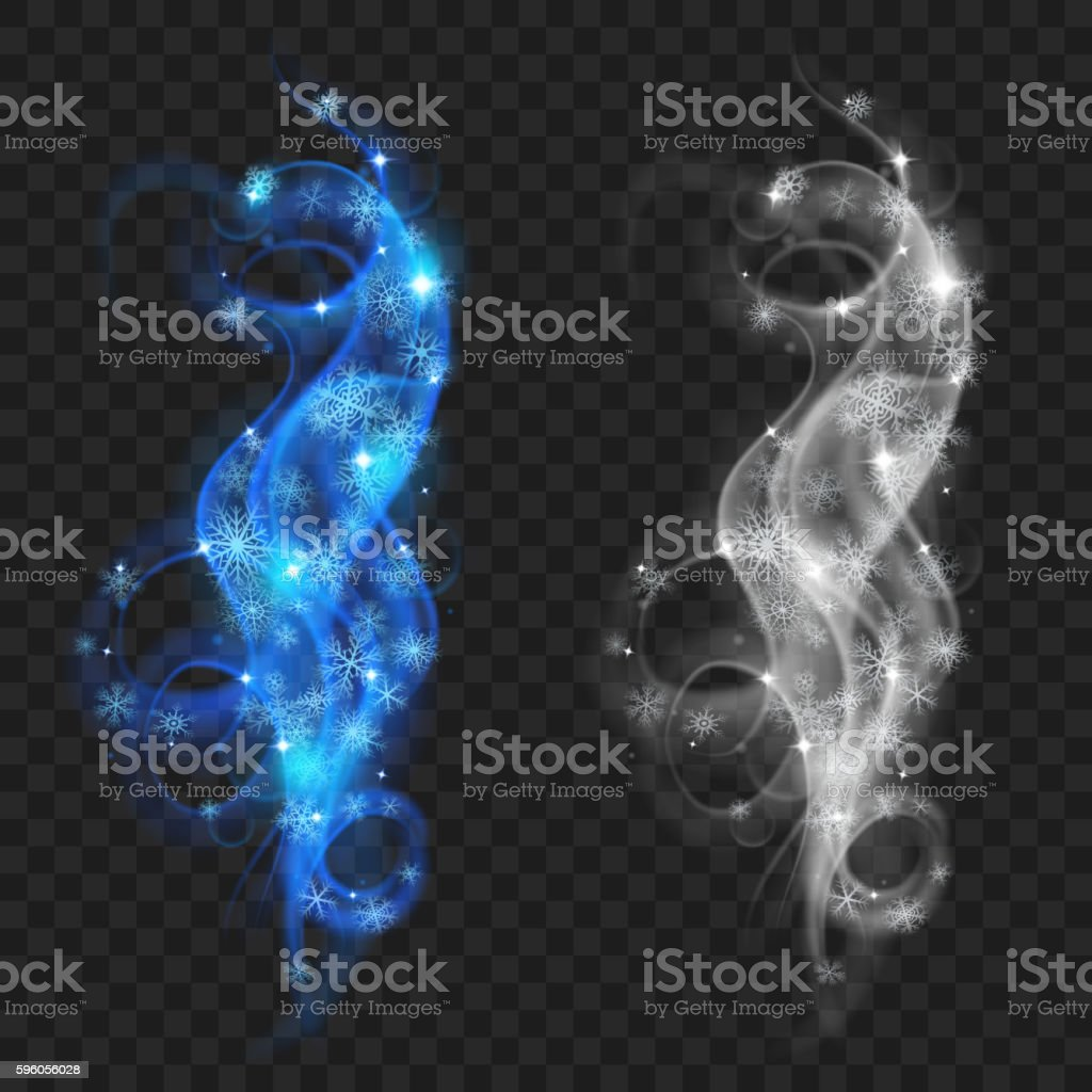Swirls of snowflakes vector art illustration