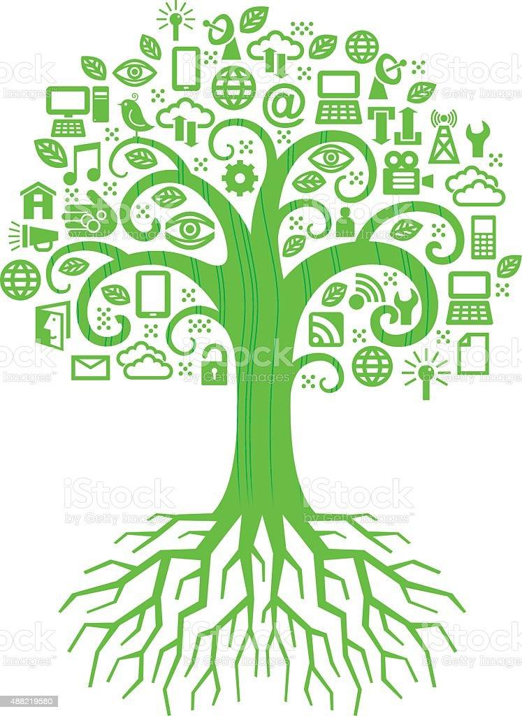 Swirly digital tree illustration vector art illustration