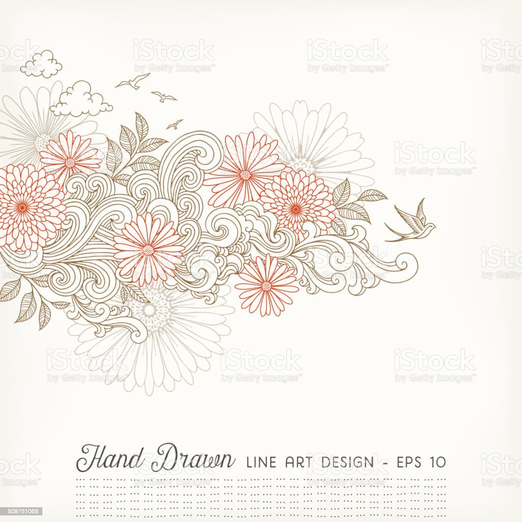 Swirly Floral Line Art Doodles vector art illustration